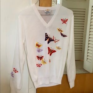 Cute vintage sweater with embroidered butterflies
